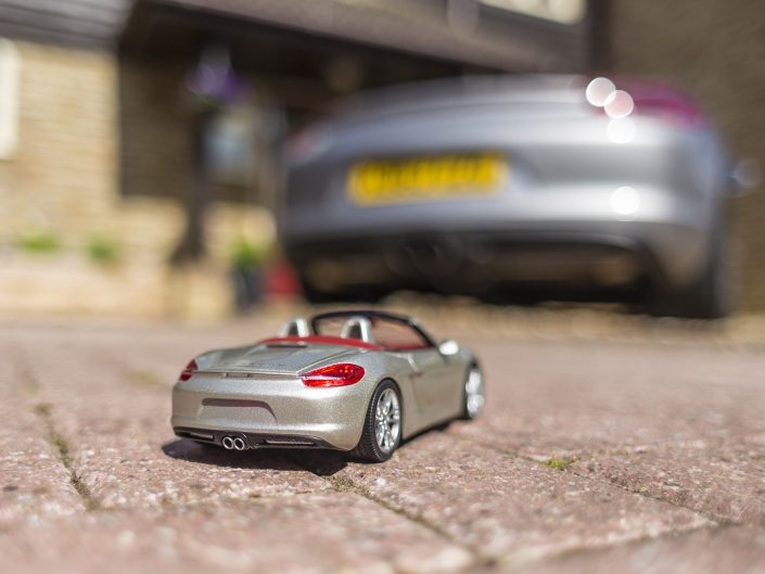 Boxster 981S 1:18 model compared to the real thing